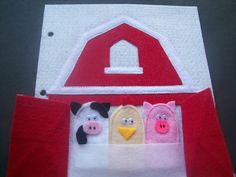 Quiet Book Page: Farm animal finger puppets in barn pocket (free template too!)