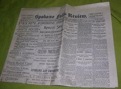 VINTAGE SPOKANE FALLS REVIEW NEWSPAPER NOVEMBER 12 1889 WASHINGTON STATE