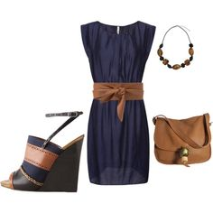 Navy and Tan Spring Outfit/Polyvore