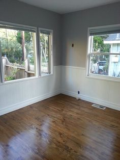 My real house!! Yes, the one that I live in. :) Colors: Behr's Designer white & gentle rain, minwax special walnut floors.