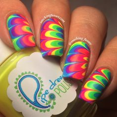 Classic rainbow floral water marble using Pipe Dream Polish's 'A Night In Vegas' collection