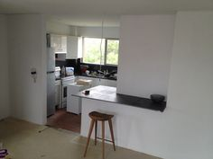 Temporary kitchen bench installed. Thinking Marble with a waterfall edge..,