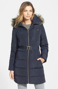 MICHAEL Michael Kors Down & Feather Fill Coat with Faux Fur Trim (Online Only) available at #Nordstrom