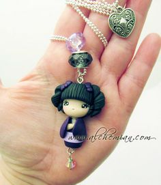 Kokeshi Japan doll ooak necklace made in italy. €28.00, via Etsy.