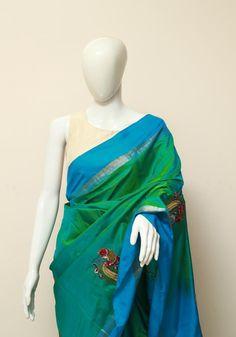 Green Uppada Saree with Applique Kalamkari Embroidery - Desically Ethnic Cotton Saree Designs, Kalamkari Saree, Indian Crafts, Woman Clothing, Saree Collection, Sarees, Ethnic, Collections, Fancy