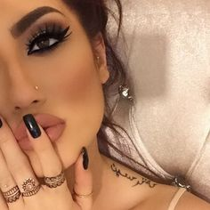 accessories, beauty, black, black nail polish, brows, brunette, eyebrows, eyelashes, face, glam, hair, henna, jewelry, lashes, lips, make up, make-up, makeup, maquiagem, nails, nose ring, piercings, pretty, rings, tattoos, love_lane27, مکین مشکل میں