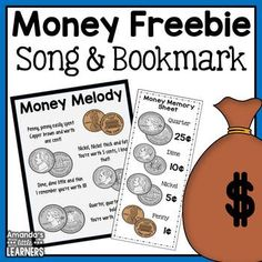 Money Song and Bookmarks - Free by Amanda's Little Learners Money Activities, Math Resources, Money Games, Learning Activities, Math Classroom, Kindergarten Math, Elementary Math, Future Classroom, Teaching Money