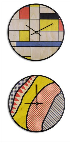 The fun colors and patterns on these Mondrian-inspired and pop art-inspired clocks make them a fun addition to any room in a modern home.