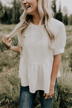 Embroidered Cream Top with Short Sleeves | ROOLEE