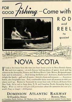 1936 Ad Dominion Atlantic Railway Nova Scotia Fishing - ORIGINAL SPM1