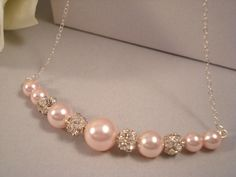 Pink Pearl Necklace Bridal Necklace by SherisUniqueBoutique