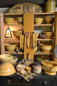 Yellow Ware - Home In New England Bonnie Lucente Antique Crocks, Old Crocks, Antique Stoneware, Stoneware Crocks, Prim Decor, Country Decor, Primitive Decor, Primitive Christmas, Country Living