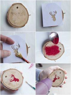 baumschmuck basteln naturmaterialien weihnachten holzscheiben glitzer