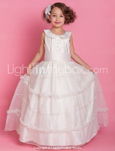 36fa3eb44 [$69.99] A-Line / Ball Gown Floor Length Flower Girl Dress - Organza /  Satin Sleeveless Jewel Neck with Buttons / Draping / Ruffles by LAN TING  BRIDE®