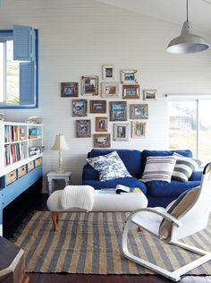 blue and white cabin