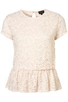paisley lace peplum top / topshop