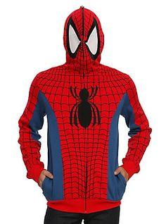 Marvel Spider-Man Cosplay Full Zip Hoodie, BLACK