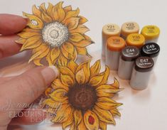 One Krafty Kat: colored two sunflowers with colic markers from Buttercup, Sunflower and Rich Brown collections