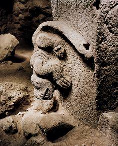Gobekli Tepe- Pillar with a reptile sculpture.