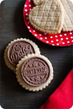 salted almond shortbread cookies with milk chocolate toppers + source for cutters/chocolate mold set