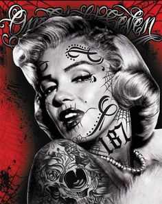marilyn monroe gangsta tattoo thug life girl