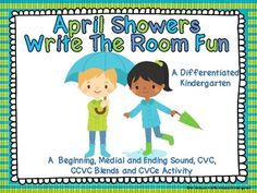 April Showers Write the Room Fun -Word Work Aligned and Differentiated