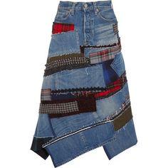 Patchwork denim midi skirt (1.010€ !)