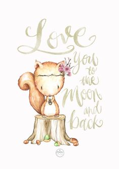 Nursery Cute Squirrel Print Watercolor, Love you to the moon and back, hand painted, baby room art print, flowers. Monique Digital Art