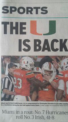 Yes, Miami handled Notre Dame convincingly Miami Football, College Football Teams, Football Uniforms, Football Season, Miami Hurricanes Apparel, Hurricanes Football, University Of Miami Hurricanes, College Sport, College Fun
