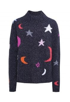 Wool Midnight Sky Jumper Colour: Darkest Night.  Encapsulating the label's free-spirited character the Chinti & Parker Midnight Sky jumper is an excellent cold weather statement piece. In its extra-chunky lambswool blend knit this sweater offers impeccable warmth and dazzling individuality due to being emblazoned in this season's exclusive bright moon and star intarsia. Complete with ribbed trims and funnel neck for comfort and the boxy fit adds ease of wear and effortless styling.