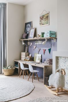 Children's Bedroom Design | Girl's room with large desk lilac & green | Room to Bloom