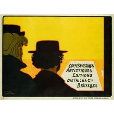 MEUNIER, Henri-Georges-Isidore, (Bruxelles1873 - 1922) CARTES POSTALES ARTISTIQUES, DIETRICH, 1898, affiches d'art O.de RYCKER, Bruxelles, affiche, lithographie en couleurs signée et datée, dans la planche « Henri Meunier», 75 x 95 cm.