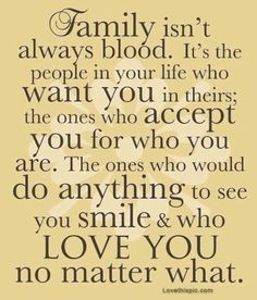 My definition of Fam: Sometimes the people closest to you, aren't always related by blood, but it doesn't mean you love them and value them any less. Family, are people that love you, and cherish you, people who don't take you for granted or take advantage of you.  They're your biggest supporters and a shoulder to cry on.  They're there when you want to have a good time or just to listen to your problems.  They're your best friends, the people you could not imagine life without.