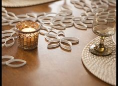 DIY table runner made of tubes from paper towels or toilet paper.