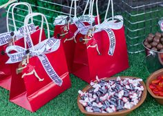 Favors at a Football & Cheerleader Party (With a little tweaking, these could also be really cute Superbowl party favors. Cheer Camp, Cheer Coaches, Cheerleading Gifts, Softball Gifts, Basketball Gifts, Girls Basketball, Girls Softball, Volleyball Players, Cheer Gift Bags