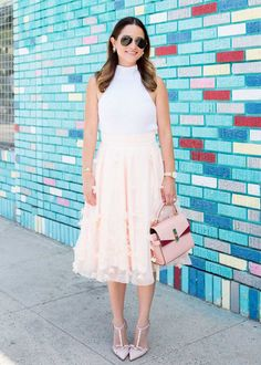 Pink Appliqué Ball Skirt {c/o} // White Sleeveless Sweater // Mini Uptown Bag {c/o}  Nude Crystal Lydia Heels {c/o} {last worn in this post} // Aviator Sunglasses  I Need a Vacation Montery Watch {c/o} // Starburst Rogan Earrings {c/o}