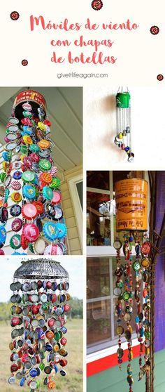 Moviles de viento con chapas de botellas recicladas Diy And Crafts, Crafts For Kids, Arts And Crafts, Land Art, Puerto Rico, Wind Chimes, Playground, Ladder Decor, Recycling