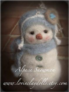 Needle Felted Alpaca Snowman
