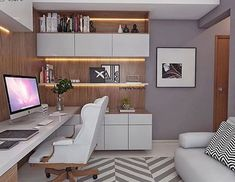 34 Elegant Contemporary Home Office Design Ideas. A large table in this home office setup acts as a double sided desk for two users. Modern Home Office Desk, Home Office Setup, Home Office Design, Home Office Furniture, House Design, Office Ideas, Basement Office, Office Storage, Office Organization