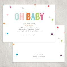 No party could go wrong with these colorful, confetti invitations! Impress your guests with these cute, vibrant invitations! Customize the colors and wording for your event! Blonde & Brindle Design Co.