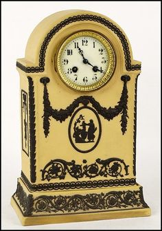 "WEDGWOOD JASPERWARE MANTLE CLOCK. -  Impressed ""Wedgwood, England"" below H: 15"" x W: 8.5"" x D: 5.5"""