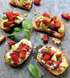 Strawberry Balsamic Crostini with Ricotta & Fresh Basil