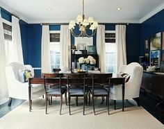 Navy Blue Dining Room...looks like our bedroom
