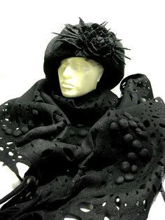 """шарф """"ПАРИЖСКИЕ ТАЙНЫ"""" - чёрный,однотонный,бактус,бактус валяный,палантин"""
