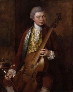 † Carl Friedrich Abel (with his viola da gamba, +/- 1765) (December 22, 1723 - June 20, 1787) German composer.