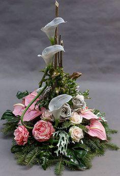 ~ Arrangement More- Gesteck Mehr Arrangement More - Silk Floral Arrangements, Funeral Flower Arrangements, Flower Arrangements Simple, Grave Flowers, Church Flowers, Funeral Flowers, Deco Floral, Arte Floral, Grave Decorations