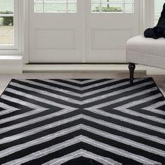 Windsor Home Kaleidoscope Area Rug - Black & Grey 4' x 6' - 4' x 6' (Medium)
