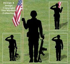 Military Men Shadow Patterns NEW!  Honor the hard working men and women in our Military by displaying one or more of these life-size eye-catching silhouettes in your yard.