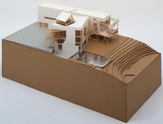 model of Frank Gehry's design for the Familian residence (unbuilt) in Santa Monica, 1978 Architecture Model Making, Urban Architecture, Architecture Student, Concept Architecture, Contemporary Architecture, Chinese Architecture, Residential Architecture, Contemporary Design, Frank Gehry