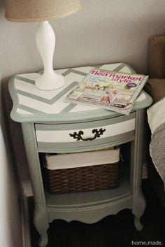 Want to paint my night stands and dresser kind of like this, but with the chevron all the same width (thick).  I also like the white stripe on the front, never would have thought of that. My colors would be gray with a beach glass blue/green color.